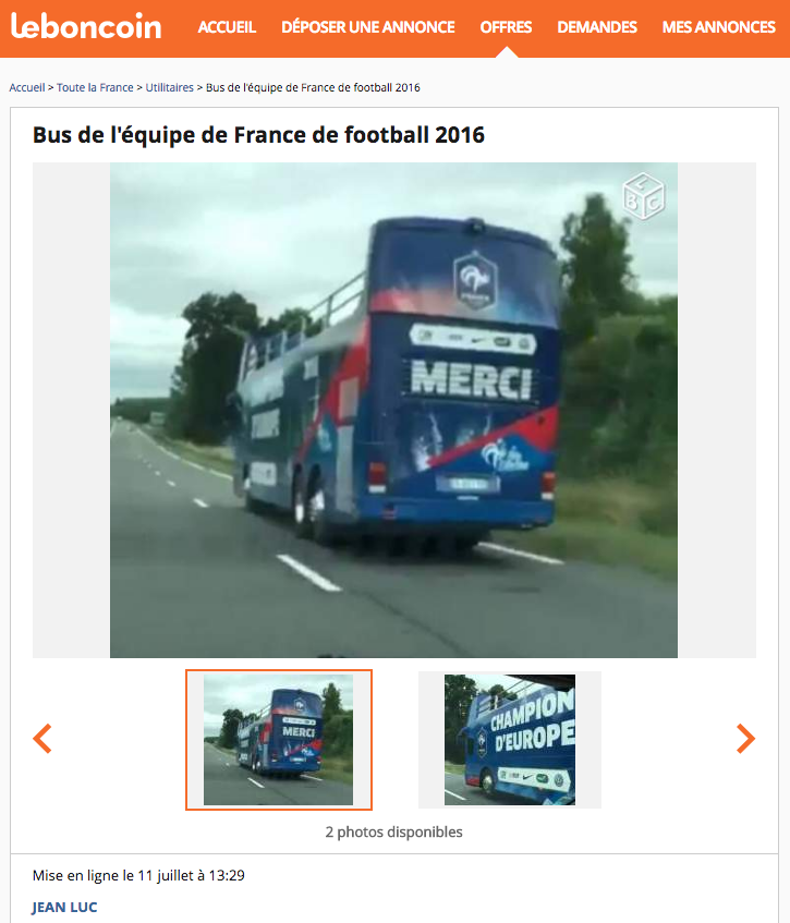 le bon coin le bus de l 39 quipe de france championne d 39 europe 2016 est vendre 1001web. Black Bedroom Furniture Sets. Home Design Ideas